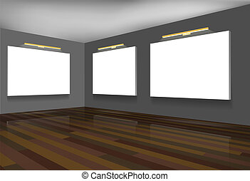 Exhibition hall. Gallery. - Exhibition hall with blank white...