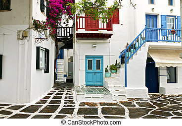 Traditional streets and houses of Mykonos island in Greece
