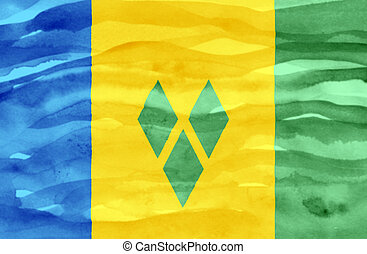Painted flag of Saint Vincent and Grenadines