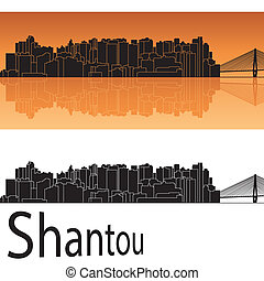 Shantou skyline in orange background