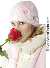 Winter girl and rose over white background