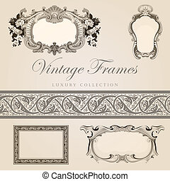 Vintage vector frames with border Retro design template
