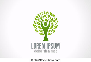 Eco Green Tree logo template. Ecology concept.