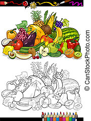 fruits and vegetables for coloring book - Coloring Book or...