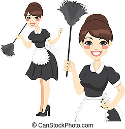 Housewife Maid Duster - Beautiful housewife in classic maid...