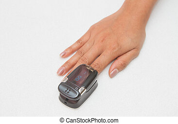 Pulse Oximeter,Patient with pulse oximeter on finger