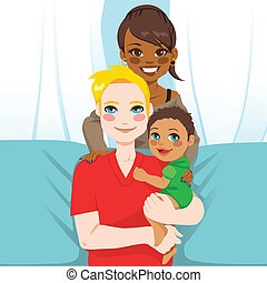 Multi Ethnic Family - Happy multi ethnic family of white...