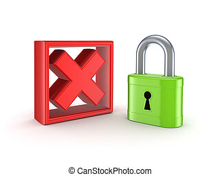 Lock and cross mark.Isolated on white background.3d...
