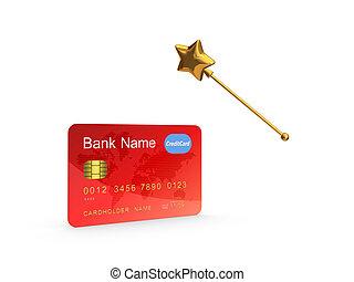 Credit card and golden magic wand.