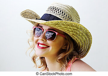 blonde woman in sunglasses