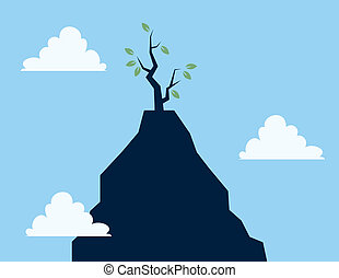 Tree on Cliff  - Single tree on tall cliff