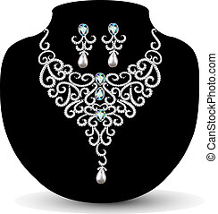 necklace and earrings, wedding womens diamond - illustration...