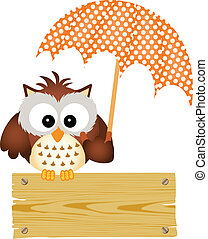 Owl on wooden sign with umbrella - Scalable vectorial image...