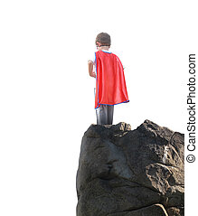 Super Hero Boy Ready to Fly on White Background - A young...