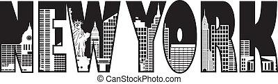 nowy, York, tekst, sylwetka na tle nieba, Szkic, Ilustracja