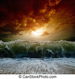 Stormy sea, sunset - Dramatic nature background - big wave,...