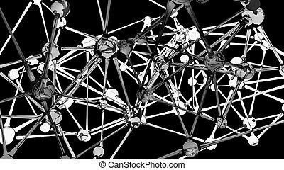 Neural network abstract on black - Glass structure in a...