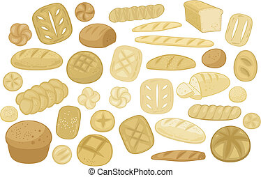 Various Breads Set - Bakery set with various bread types,...