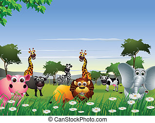 funny animal cartoon - vector illustration of funny animal...