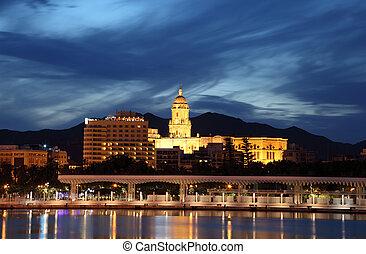 Malaga Cathedral illuminated at night. Andalusia Spain