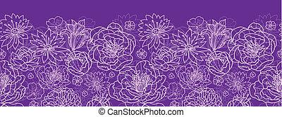 Purple lace flowers horizontal seamless pattern background...