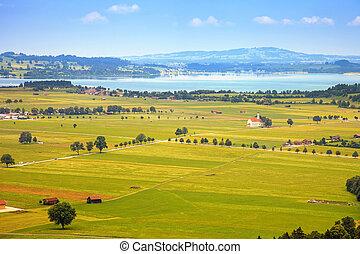 Bavaria landscape from Neuschwanstein castle. Schwangau...