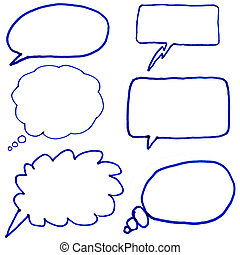Hand drawn thought bubbles.