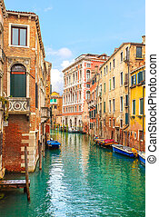 Venice cityscape, water canal and traditional buildings...