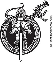 Knight and Roaring Dragon - Woodcut style knight in a circle...