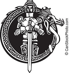 Knight in Dragon Circle - Woodcut style medieval knight in a...