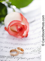 rings - wedding rings on note sheet close up shoot