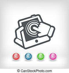 Touchscreen, action, icône