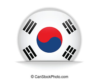 South Korea Flag Glossy Button