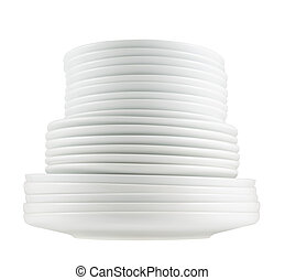 Pile of clean white dish plates isolated - Accurate pile...