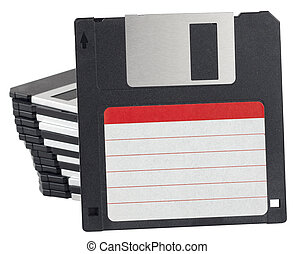 Isolated floppy disks with label