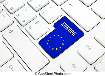 Europe web concept blue and star flag enter button or key on...