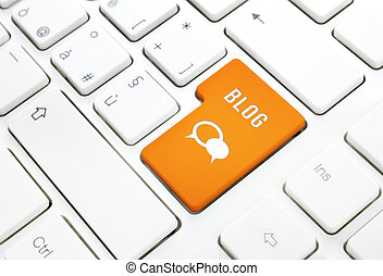 Blog business concept, text and icon. Orange button or key...