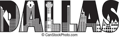 Dallas City Skyline Text Outline Illustration - Dallas Texas...