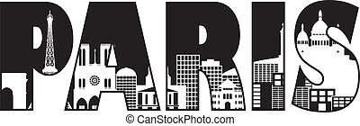 Paris City Skyline Text Outline Illustration - Paris France...