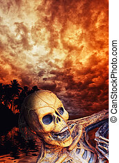 Pirate skeleton in the caribbeans at dusk