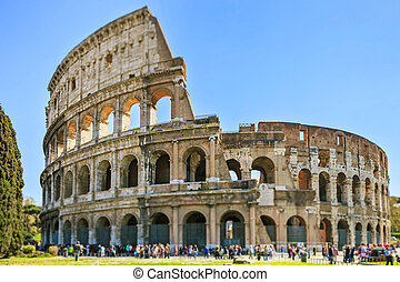 Roman Colosseum architecture landmark in a tilt shift...
