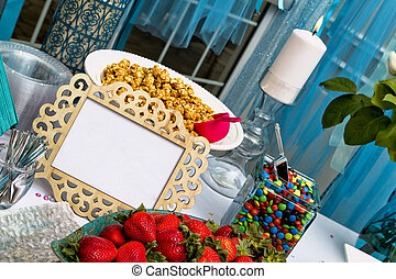 wedding table - Close up of a table from the ceremony of a...