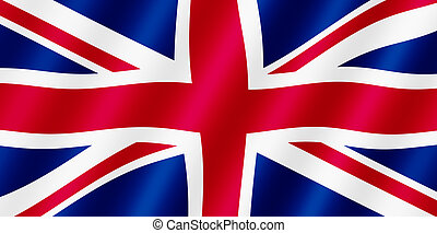 British Union Jack flag blowing in the wind illustration