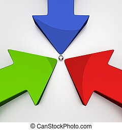 3D Arrows - 3 Colors - Goal - Green Red Blue