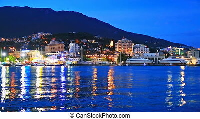 Panorama of Yalta, Crimea, Ukraine - Scenic summer night...