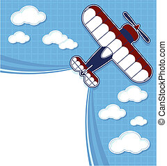 funny biplane cartoon with blank contrail for copy space on...