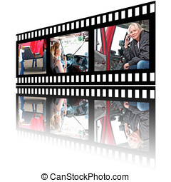 Film Stip Images of Woman Truck Driver - Film strip images...