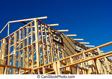 Abstract of New Home Construction Site Framing - New...