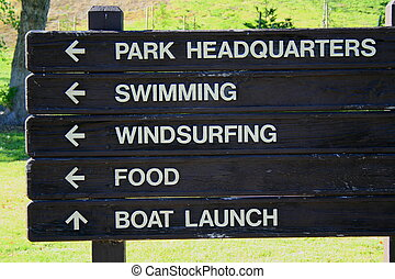Park Directions - Park directions board close up on a sunny...