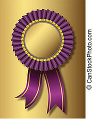 Purple award over golden background